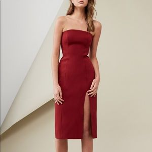 C/Meo strapless fitted sexy red dress